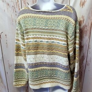 Vintage 80s Orvis neutral nordic striped sweater